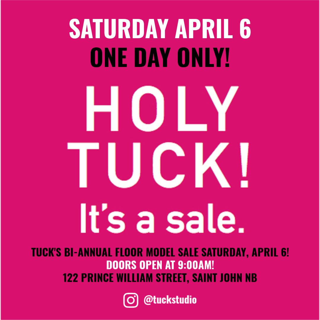 holy tuck floor model sale info graphic April 6 2019 at 9:00am