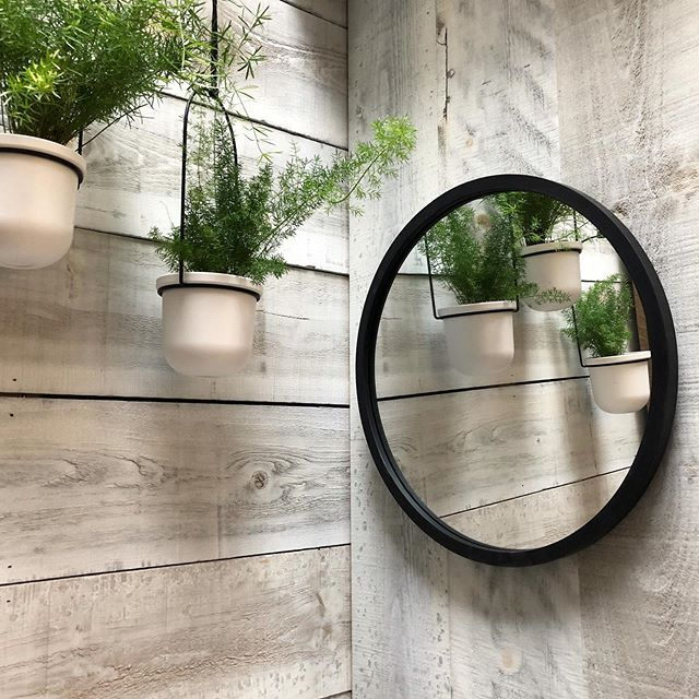 "Umbra 18"" Hub Mirror Black Tuck on barn board wall"